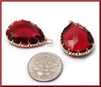 2 Deep Red Glass Pendants, Teardrop Pendants, Gold Plated Faceted Glass Drop Pendants