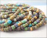 Matte Gala Mix Czech Glass Seed Beads 6/0 Blue Striped Aged Picasso Seed Beads