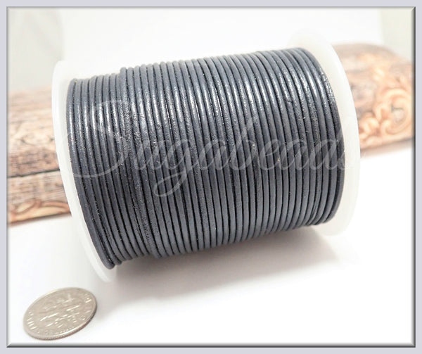 Dark Grey Leather Cord, Round Leather Cord, 16 Feet Leather 1.5mm, Distressed Leather Cord