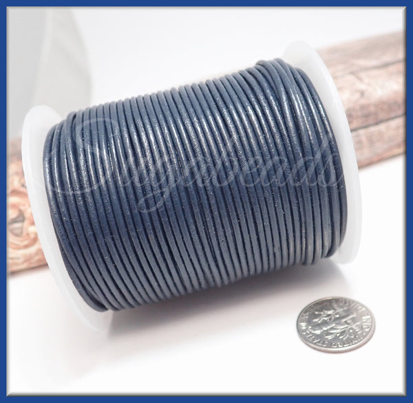 Dark Blue Leather Cord, Round Leather Cord, 16 Feet Leather 1.5mm thick Distressed Leather Cord