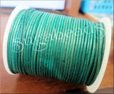 Distressed Turquoise Leather Cord, 16 feet Cord, 1.5mm Round Leather Cord