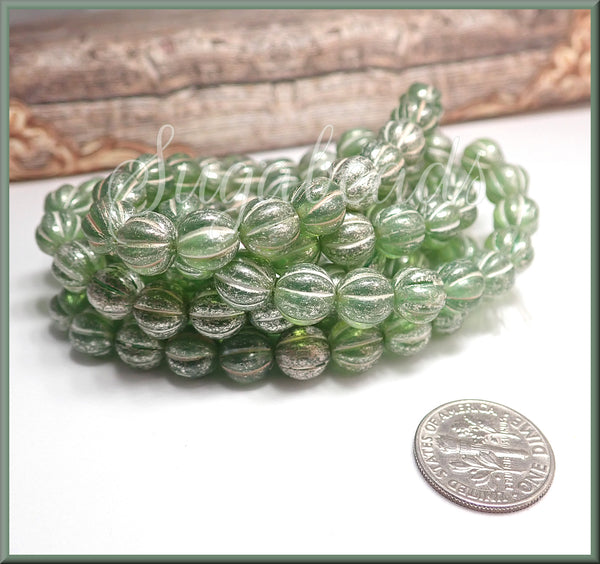 20 Silver Wash Spring Green Melon Czech Beads - 8mm Green Melon Glass Beads, Mercury Finish