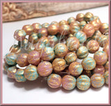 8mm Melon Beads, Czech Glass Melon Beads in Dusty Rose & Tea Green, Gold Wash, 20 Beads