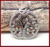 Sterling Silver Tree Pendant with Cubic Zirconia Stones