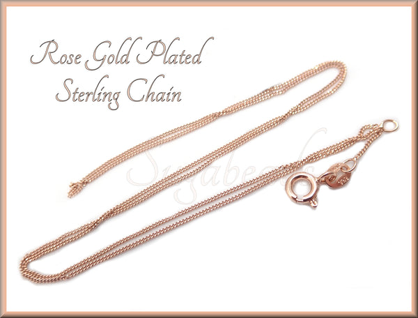 18 inch Rose Gold Plated over Sterling Silver Chain - sugabeads