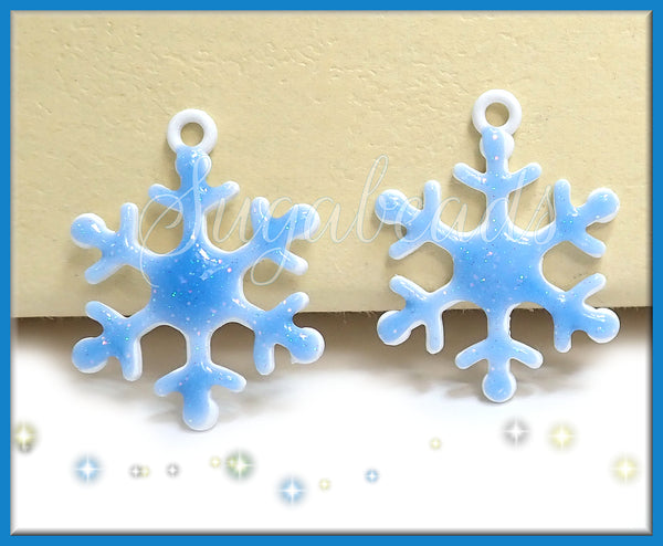 4 Icy Blue Glitter Snowflake Charms - 27mm Metal & Enamel Snowflake Pendant, Winter Pendants, PS220