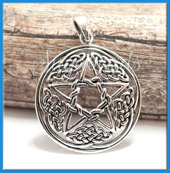 Sterling Silver Celtic Knot Pendant with Pentagram - sugabeads