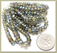 Grey Czech Rondelles with AB and Mercury Finish, 3mm x 5mm Faceted Grey Rondelles