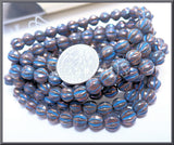 25 Czech Glass Metallic Bronze Melon Beads with Blue Wash 6mm