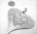 1 Large Galaxy Heart Pendant with Silver Bail 74mm