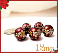 4 Red Japanese Flower Beads - Glass Flower Beads - Floral Saruka Beads 12mm Read Beads, PS253