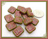 10 Tea Green and Pink Picasso Czech Glass - Pink Rectangle Beads 12mm CZN57 - sugabeads