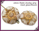 2 Czech Glass Flower Beads, Matte Flower Beads, Smokey Gray & Bronze 22mm GCZB1