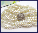 1 Strand White Glass Heishi Pearls 6mm x 4mm- Rondelle Glass Pearls HGP1