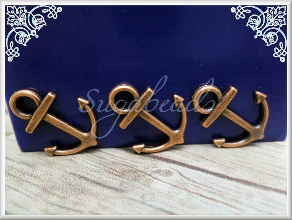 20 Copper Tone Anchor Charms, 18mm Anchors, Small Copper Anchors, Nautical Anchor Charms