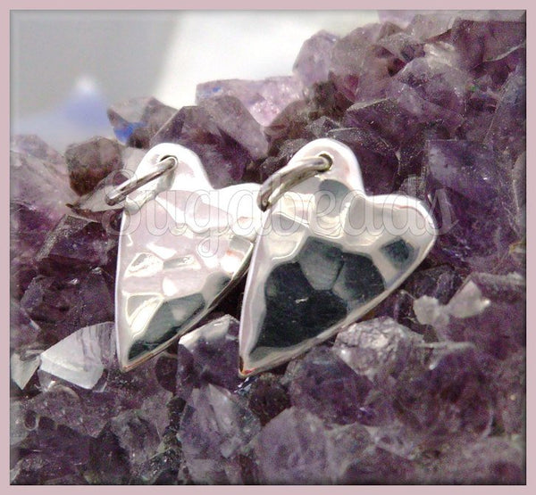 1 Sterling Silver Heart Charm, Hammered Heart Charm 15mm, ND23