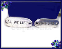 3 Live Life Charms, Antiqued Silver Connectors 33mm, Live Life Connectors - sugabeads