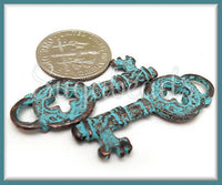 2 Mykonos Copper with Green Patina Key Charms - Rustic Copper Key Pendants MK10