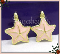 4 Bright Gold Tone Peach Enamel Starfish Charms 27mm