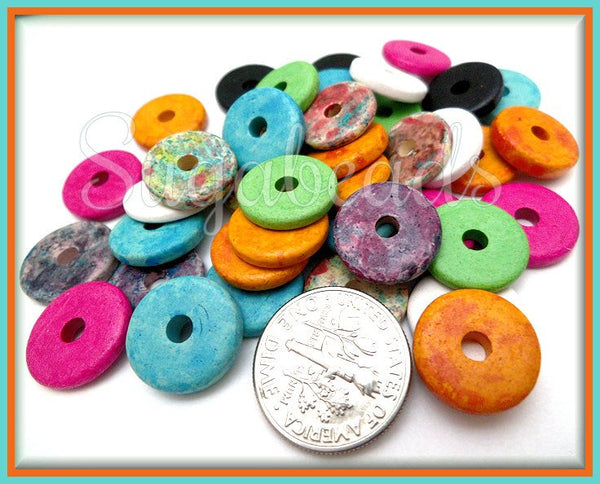 24 Multi Color Greek Ceramic Round Washer Beads 13mm - Mykonos Disc Beads - sugabeads