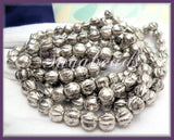 25 Metallic Silver Czech Glass Melon Beads 6mm CZN3