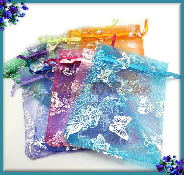 10 Butterfly Organza Bags in Mixed Colors, 12cm x 9cm Organza Bags