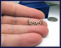 1 Natural Bronze XOXO Charm - Hugs and Kisses Connector 27mm ND4