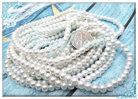 200 Bright White Round Glass Pearl Beads 4mm