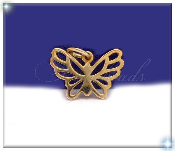 1 Natural Bronze Little Butterfly Charm - Filigree Charm 15mm, ND7