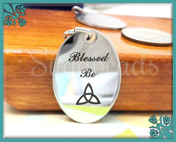 1 Stainless Steel Celtic Pendant, Stamped Blessed Be, Wicca Pendant, 23mm