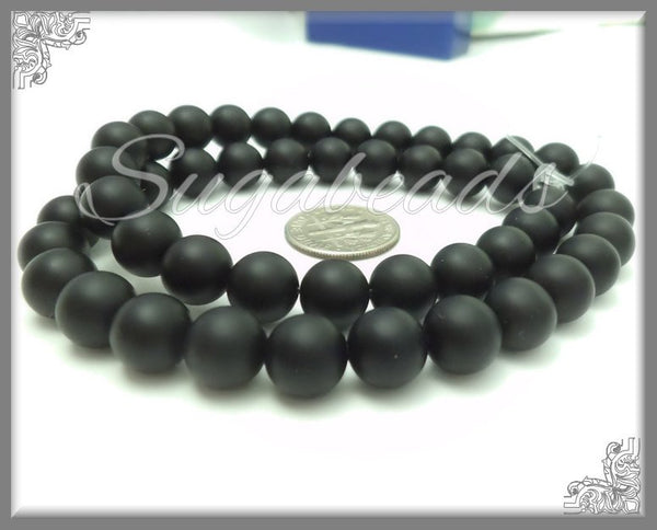 1 Strand Matte Black Onyx Gemstone Beads 6mm, SBGB28