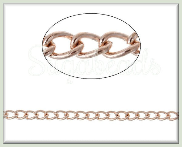 Bulk Light Rose Gold Curb Chain, Unfinished Rose Gold Chain, 16 feet Rose Gold Chain, RGC2