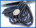 50 Czech Glass Sapphire Blue with Gold finish Trica Beads, Seed Beads 4mm x 3mm, CZN9