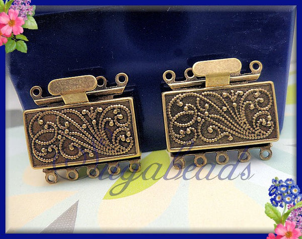 Antiqued Brass 5 Strand Box Clasp 23mm x 21mm