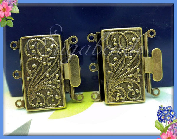 Oxidized Antiqued Brass 3 Strand Box Clasp 23mm x 21mm