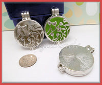2 Round Silver Lockets - Flower & Heart Lockets with scent pads 44mm PS196