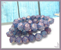 10 English Cut Czech Beads, Purple Luster Beads 10mm Czech Glass Beads- Hexagon Beads, CZN11