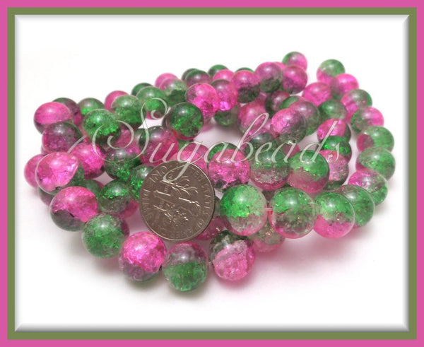 40 Watermelon Pink and Green Crackle Glass Beads 10mm - sugabeads
