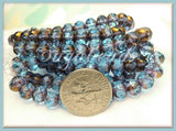 25 Aqua and Bronze Czech Glass Beads, Faceted Rondelle Beads 7mm x 5mm, CZN2