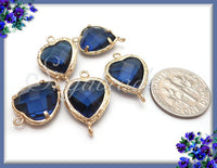 2 Gold Blue Glass Heart Connectors - Gold Brass Heart Links - Faceted Heart Connectors 19mm