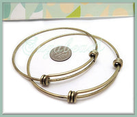 2 Brass Expandable Wire Bangles - Brass over Copper Wire Bracelets for Charms 8 Inch WB4