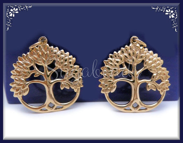 1 Natural Bronze Tree of Life Charm - Round Tree Charm 28mm ND3