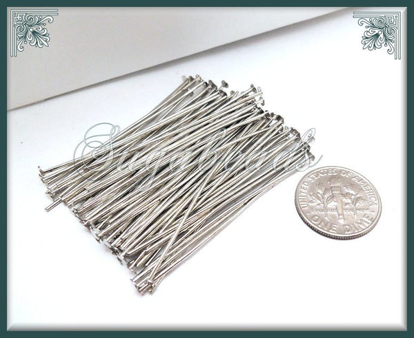 300 Silver Tone Head Pins 45mm 1.77 inch 21 Gauge