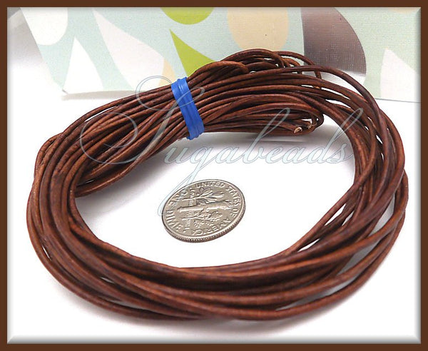 Soft Brown Leather Cord, Round Cord, 16 Feet Leather, 1mm thick, Red Brown Cord