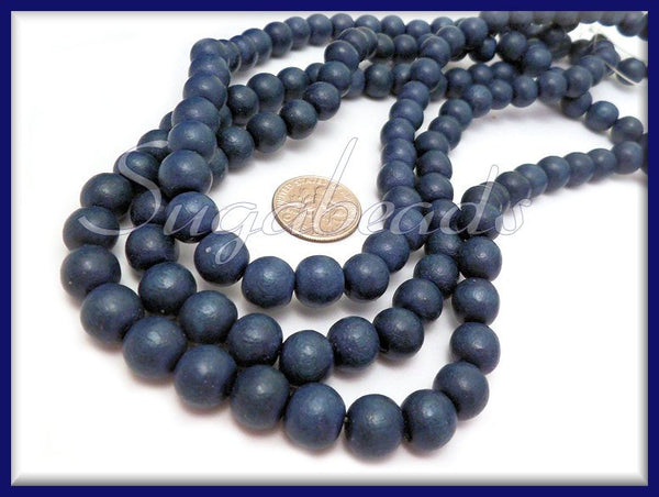 Denim Blue Natural Wood Beads 8mm, 50 Beads, Wooden Prayer Beads, Blue Wood Beads, SBGB13 - sugabeads