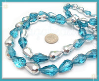 20 Faceted Aqua Blue Crystal Beads, Teardrop Beads, Aqua and Silver half coat Beads 15mm