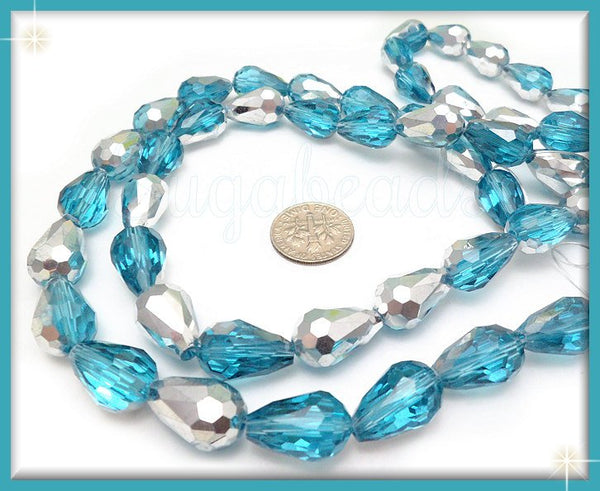 20 Faceted Aqua Blue Crystal Beads, Teardrop Beads, Aqua and Silver half coat Beads 15mm - sugabeads