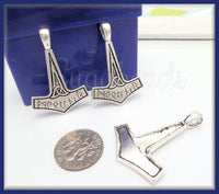 5 Antiqued Silver Thor's Hammer, Viking Mjölnir Charms, Viking Charm with Runes, Thor's Hammer, PS63