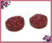 10 Rose Red Glitter Resin Druzy Cabochons 12mm - Rose Red Faux Druzy