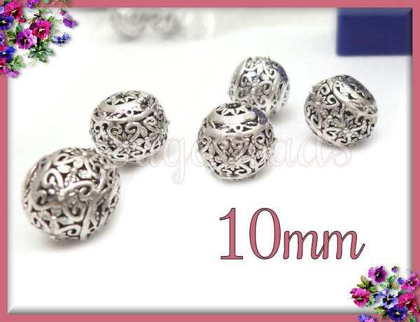 4 Round Silver Beads, Filigree Silver Beads, 10mm Silver over Copper round beads PS209